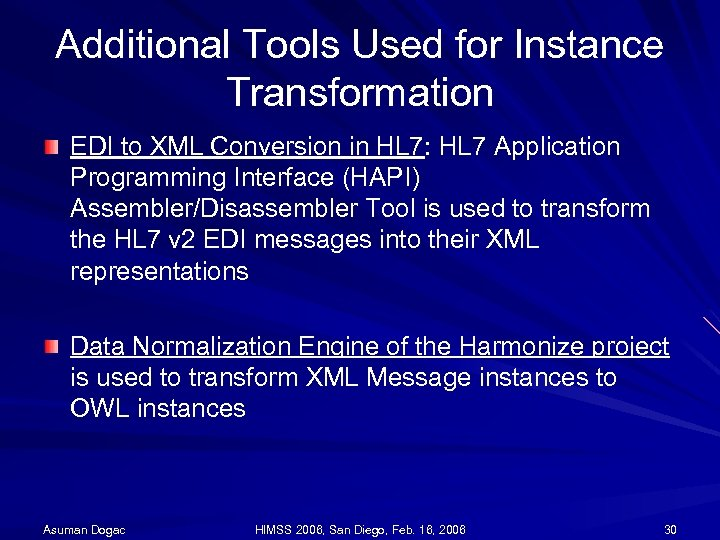 Additional Tools Used for Instance Transformation EDI to XML Conversion in HL 7: HL