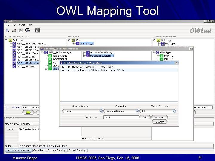 OWL Mapping Tool Asuman Dogac HIMSS 2006, San Diego, Feb. 16, 2006 31