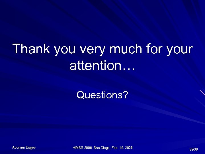 Thank you very much for your attention… Questions? Asuman Dogac HIMSS 2006, San Diego,