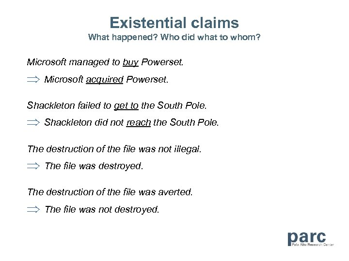 Existential claims What happened? Who did what to whom? Microsoft managed to buy Powerset.