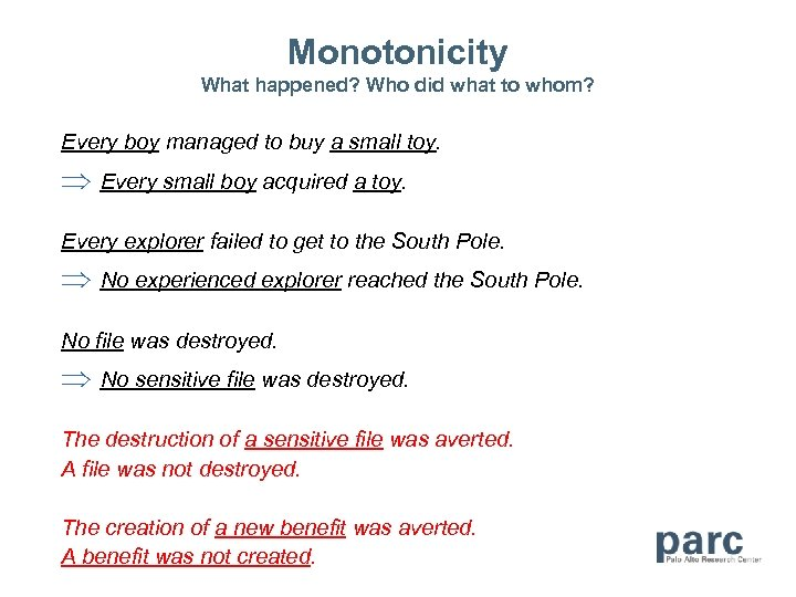 Monotonicity What happened? Who did what to whom? Every boy managed to buy a