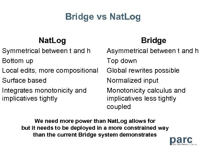 Bridge vs Nat. Log Symmetrical between t and h Bottom up Local edits, more