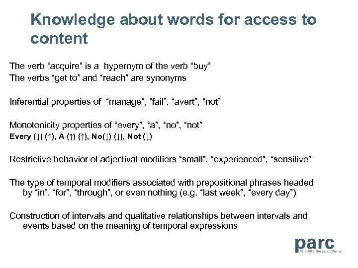 """Knowledge about words for access to content The verb """"acquire"""" is a hypernym of"""