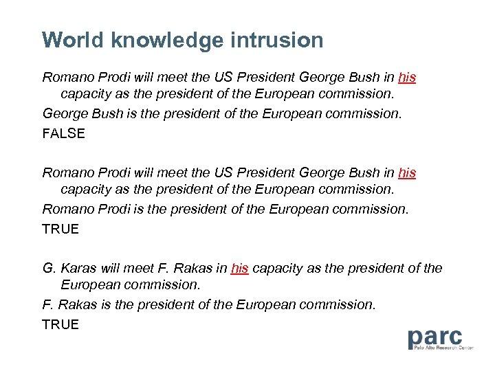 World knowledge intrusion Romano Prodi will meet the US President George Bush in his
