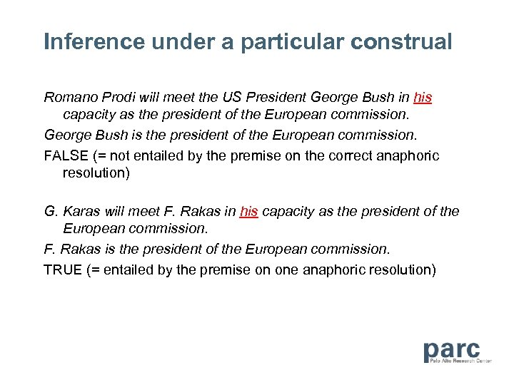 Inference under a particular construal Romano Prodi will meet the US President George Bush