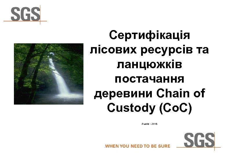 Сертифікація лісових ресурсів та ланцюжків постачання деревини Chain of Custody (Co. C) Львів -