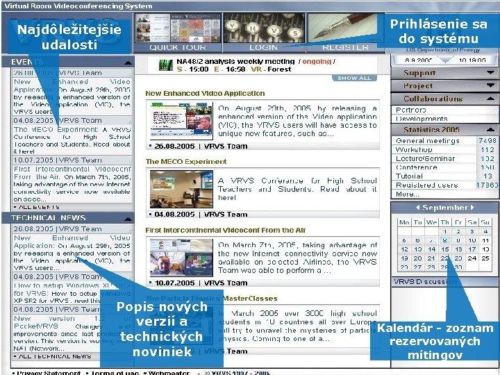 Najdôležitejšie udalosti Popis nových verzií a technických noviniek Prihlásenie sa do systému Kalendár -