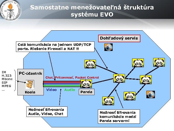 Samostatne menežovateľná štruktúra systému EVO Dohľadový servis Celá komunikácia na jednom UDP/TCP porte. Riešenie