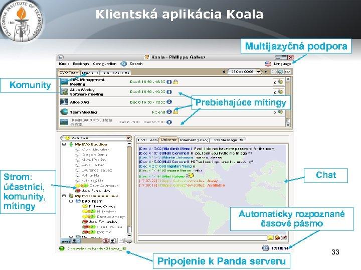 Klientská aplikácia Koala Multijazyčná podpora Komunity Prebiehajúce mítingy Strom: účastníci, komunity, mítingy Chat Automaticky