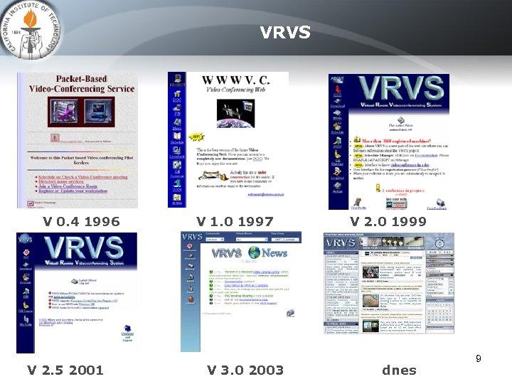 VRVS V 0. 4 1996 V 2. 5 2001 V 1. 0 1997 V