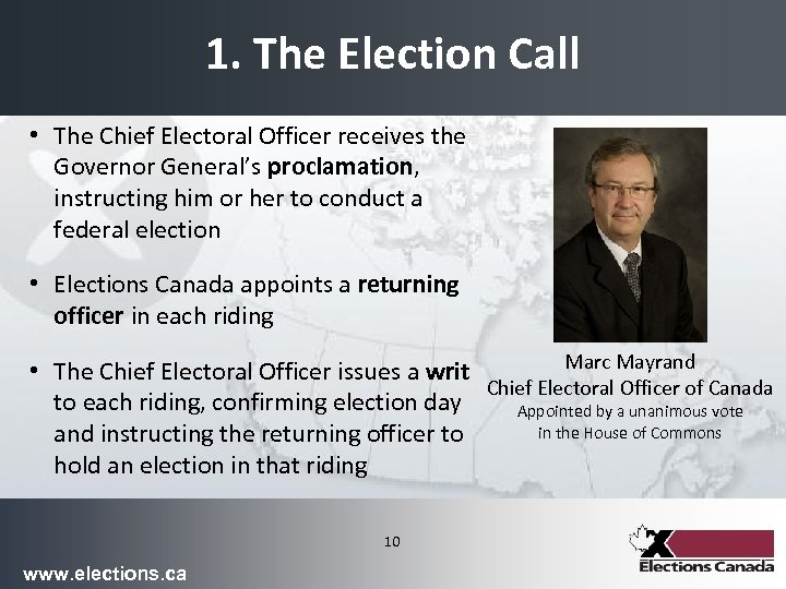 1. The Election Call • The Chief Electoral Officer receives the Governor General's proclamation,