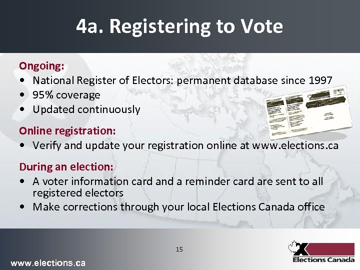 4 a. Registering to Vote Ongoing: • National Register of Electors: permanent database since