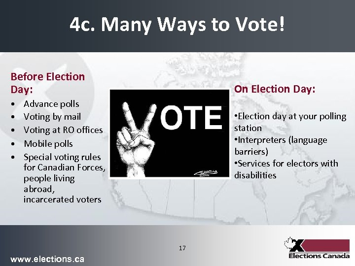 4 c. Many Ways to Vote! Before Election Day: • • • On Election