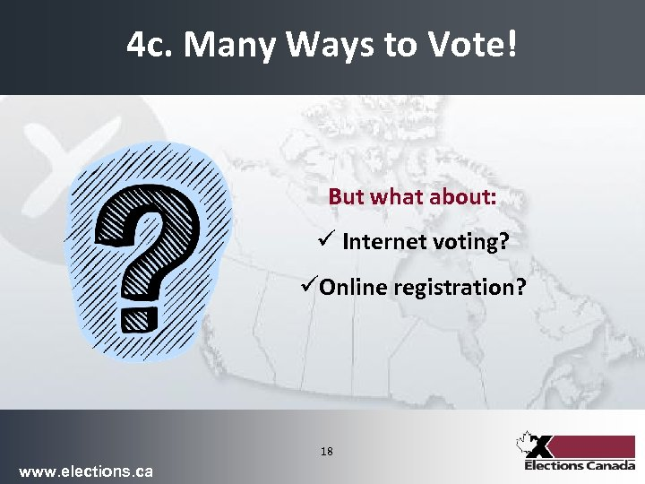 4 c. Many Ways to Vote! But what about: ü Internet voting? üOnline registration?