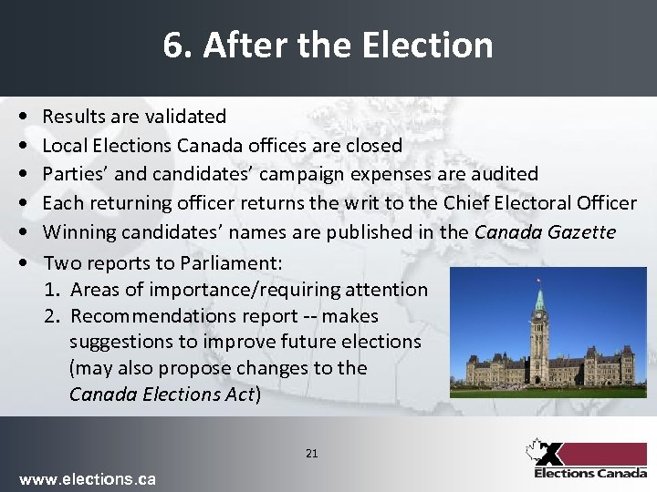 6. After the Election • • • Results are validated Local Elections Canada offices