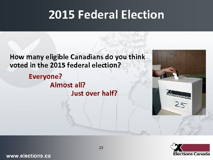 2015 Federal Election How many eligible Canadians do you think voted in the 2015