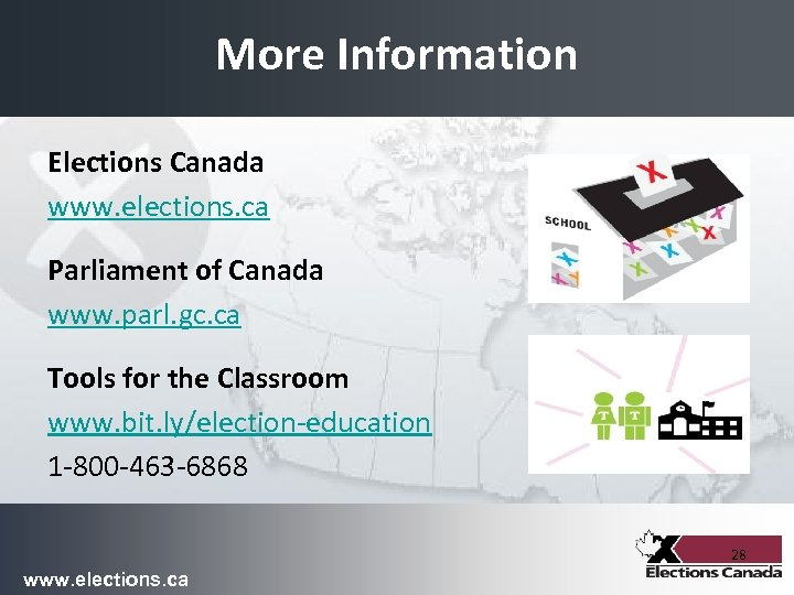 More Information Elections Canada www. elections. ca Parliament of Canada www. parl. gc. ca