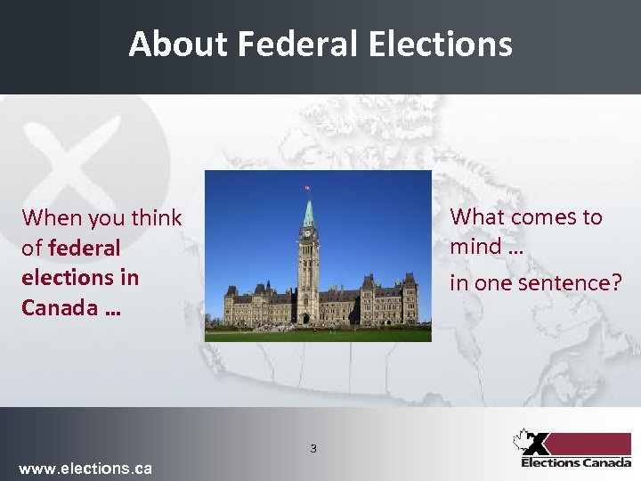 About Federal Elections What comes to mind … in one sentence? When you think