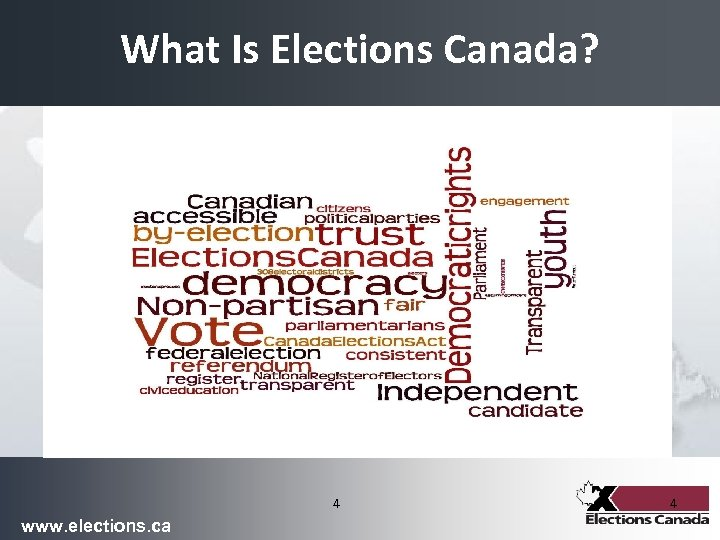 What Is Elections Canada? 4 www. elections. ca 4