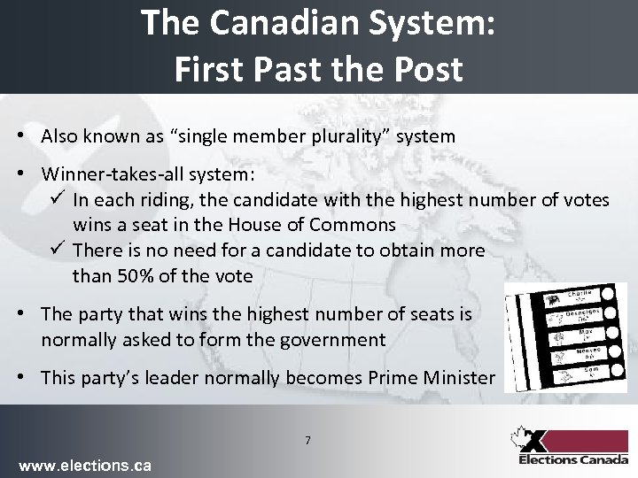 """The Canadian System: First Past the Post • Also known as """"single member plurality"""""""