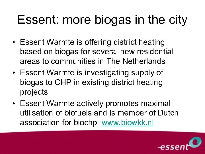 Essent: more biogas in the city • Essent Warmte is offering district heating based