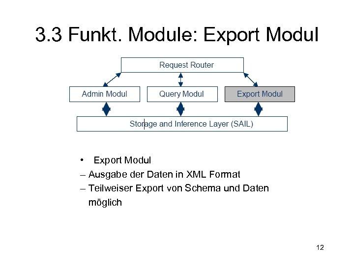 3. 3 Funkt. Module: Export Modul • Export Modul – Ausgabe der Daten in
