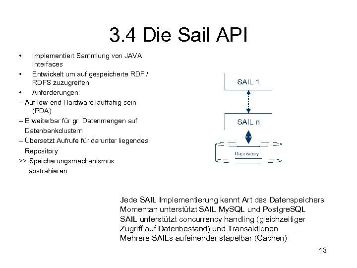 3. 4 Die Sail API • Implementiert Sammlung von JAVA Interfaces • Entwickelt um