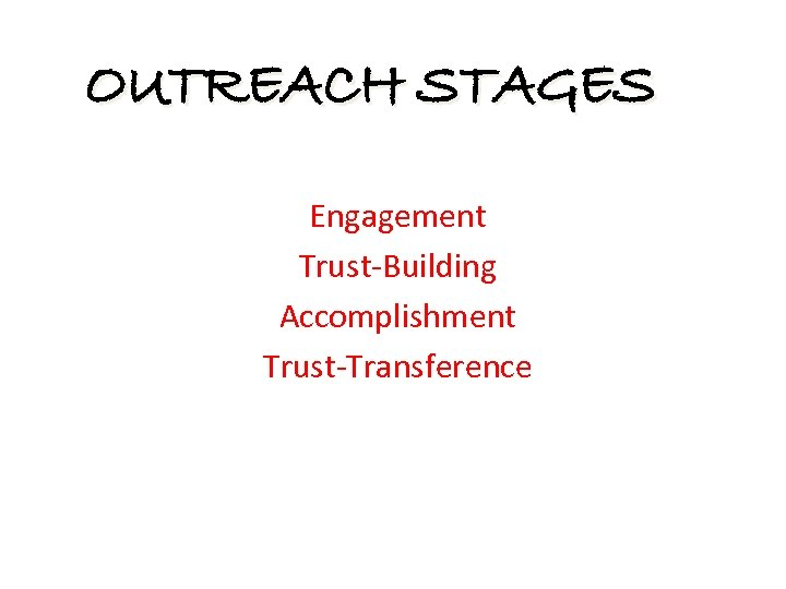 OUTREACH STAGES Engagement Trust-Building Accomplishment Trust-Transference