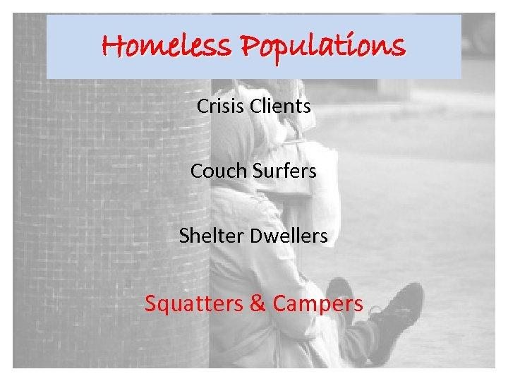 Homeless Populations Crisis Clients Couch Surfers Shelter Dwellers Squatters & Campers