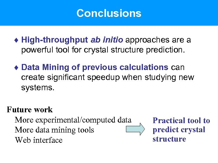 Conclusions ¨ High-throughput ab initio approaches are a powerful tool for crystal structure prediction.