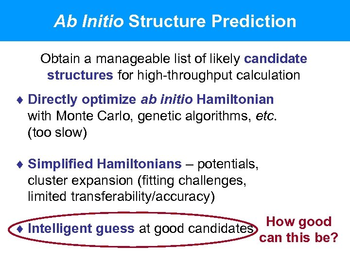 Ab Initio Structure Prediction Obtain a manageable list of likely candidate structures for high-throughput