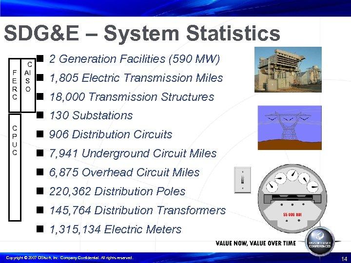 SDG&E – System Statistics F E R C C AI S O n 2