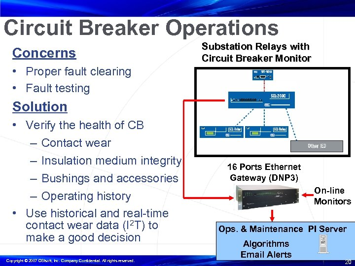 Circuit Breaker Operations Concerns Substation Relays with Circuit Breaker Monitor • Proper fault clearing