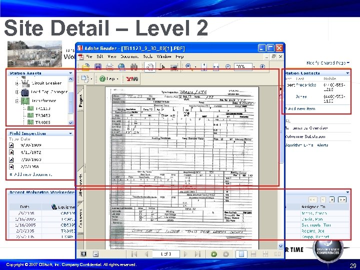 Site Detail – Level 2 Copyright © 2007 OSIsoft, Inc. Company Confidential. All rights