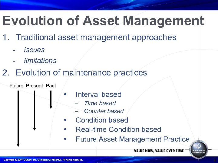 Evolution of Asset Management 1. Traditional asset management approaches - issues limitations 2. Evolution