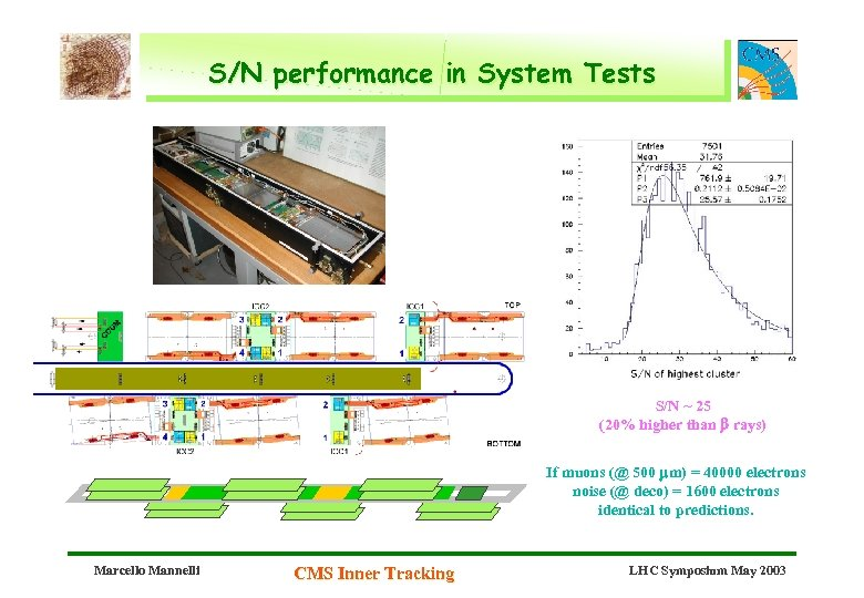 S/N performance in System Tests S/N ~ 25 (20% higher than b rays) If