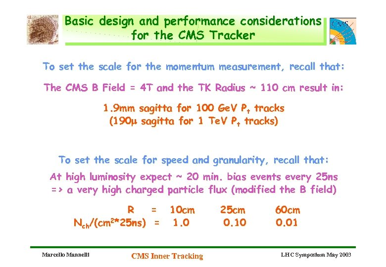 Basic design and performance considerations for the CMS Tracker To set the scale for