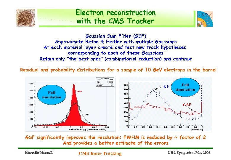 Electron reconstruction with the CMS Tracker Gaussian Sum Filter (GSF) Approximate Bethe & Heitler