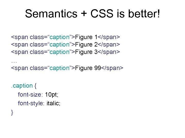 "Semantics + CSS is better! <span class=""caption"">Figure 1</span> <span class=""caption"">Figure 2</span> <span class=""caption"">Figure 3</span>"