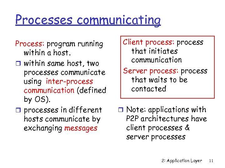 Processes communicating Process: program running within a host. r within same host, two processes