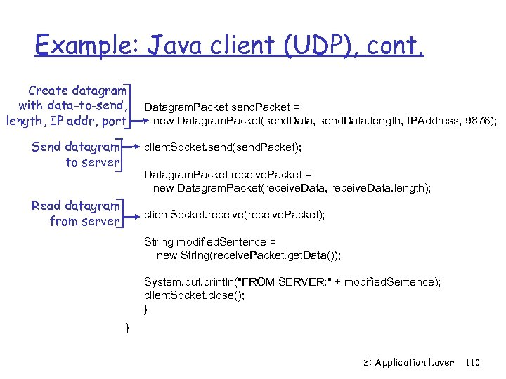 Example: Java client (UDP), cont. Create datagram with data-to-send, length, IP addr, port Send