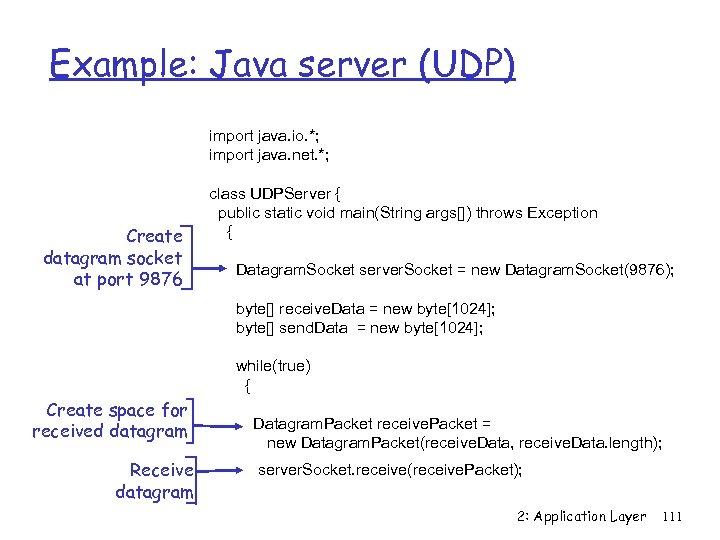 Example: Java server (UDP) import java. io. *; import java. net. *; Create datagram
