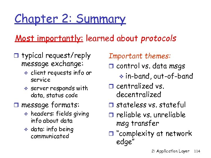 Chapter 2: Summary Most importantly: learned about protocols r typical request/reply message exchange: v