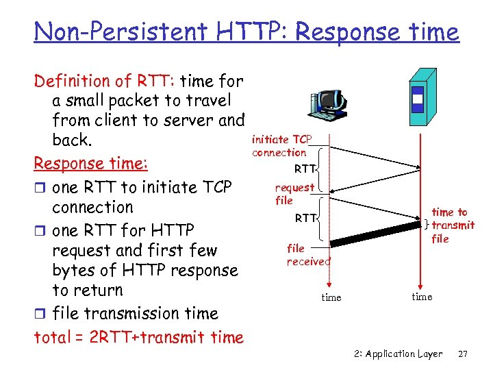Non-Persistent HTTP: Response time Definition of RTT: time for a small packet to travel
