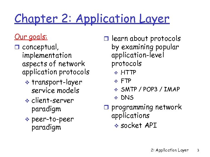 Chapter 2: Application Layer Our goals: r conceptual, implementation aspects of network application protocols