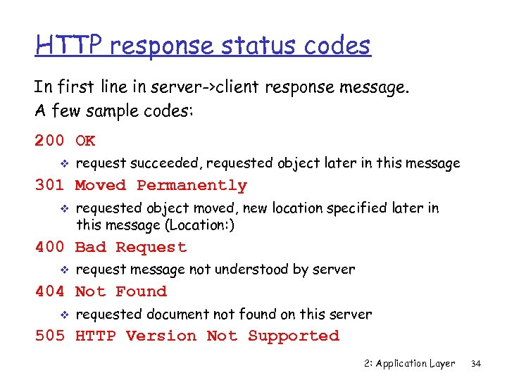 HTTP response status codes In first line in server->client response message. A few sample