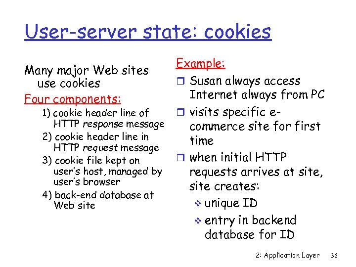 User-server state: cookies Example: r Susan always access Internet always from PC r visits