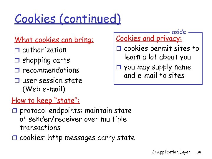 Cookies (continued) What cookies can bring: r authorization r shopping carts r recommendations r
