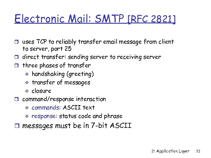 Electronic Mail: SMTP [RFC 2821] r uses TCP to reliably transfer email message from