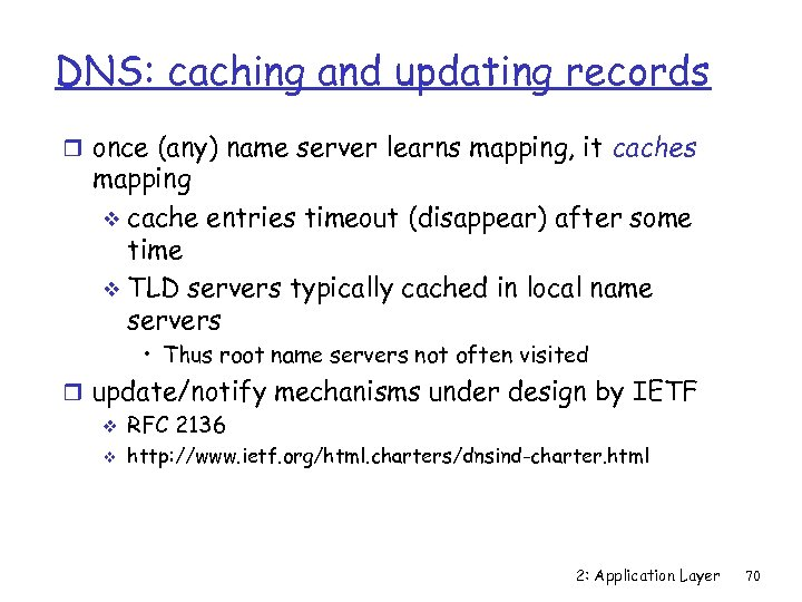 DNS: caching and updating records r once (any) name server learns mapping, it caches